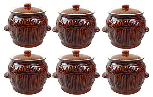 GMMH Kochtopf Auflaufform Keramik Topf Töpfe Set 6 Stück (Horyma braun)