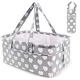 Cesta apilable para guardar pañales para bebé, organizador de pañales para bebé, para cambiar de mesa, regalo de registro de recién nacidos, bolsa de viaje (cesta para pañales + bolsa para botellas)