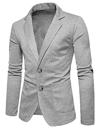 COOFANDY Mens Cotton Casual Two Button Lapel Blazer Jacket Lightweight Sport Coat Gray
