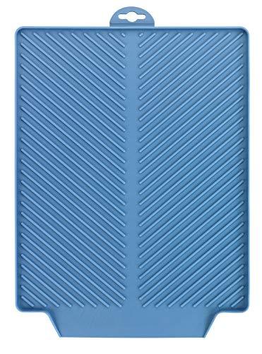 Wenko Abtropfmatte Linea Blau Trockenmatte, Spülbeckenmatte für Geschirr, Kunststoff (TPR), Maße (B x H x T): 40 x 3 x 30 cm