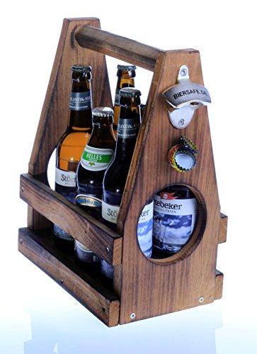Bier-Sixpack-Träger aus Massiv-Holz von BIERSAFE mit Öffner und Fangmagnet im Vintage-Style, aus schwerem Schiffsholz, Oberfläche geflämmt, mit Edelstahl-Schrauben.