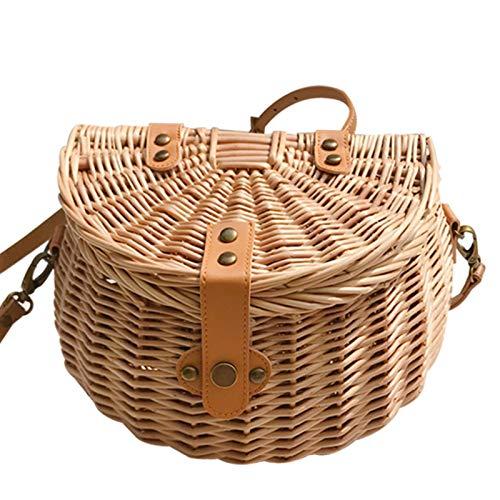 Yunt-11 - Cesta para bicicleta, cesta delantera para bicicleta trenzada de ratán hecha a mano con tapa, cesta para manillar para adulto, resistente al agua, con correas de piel