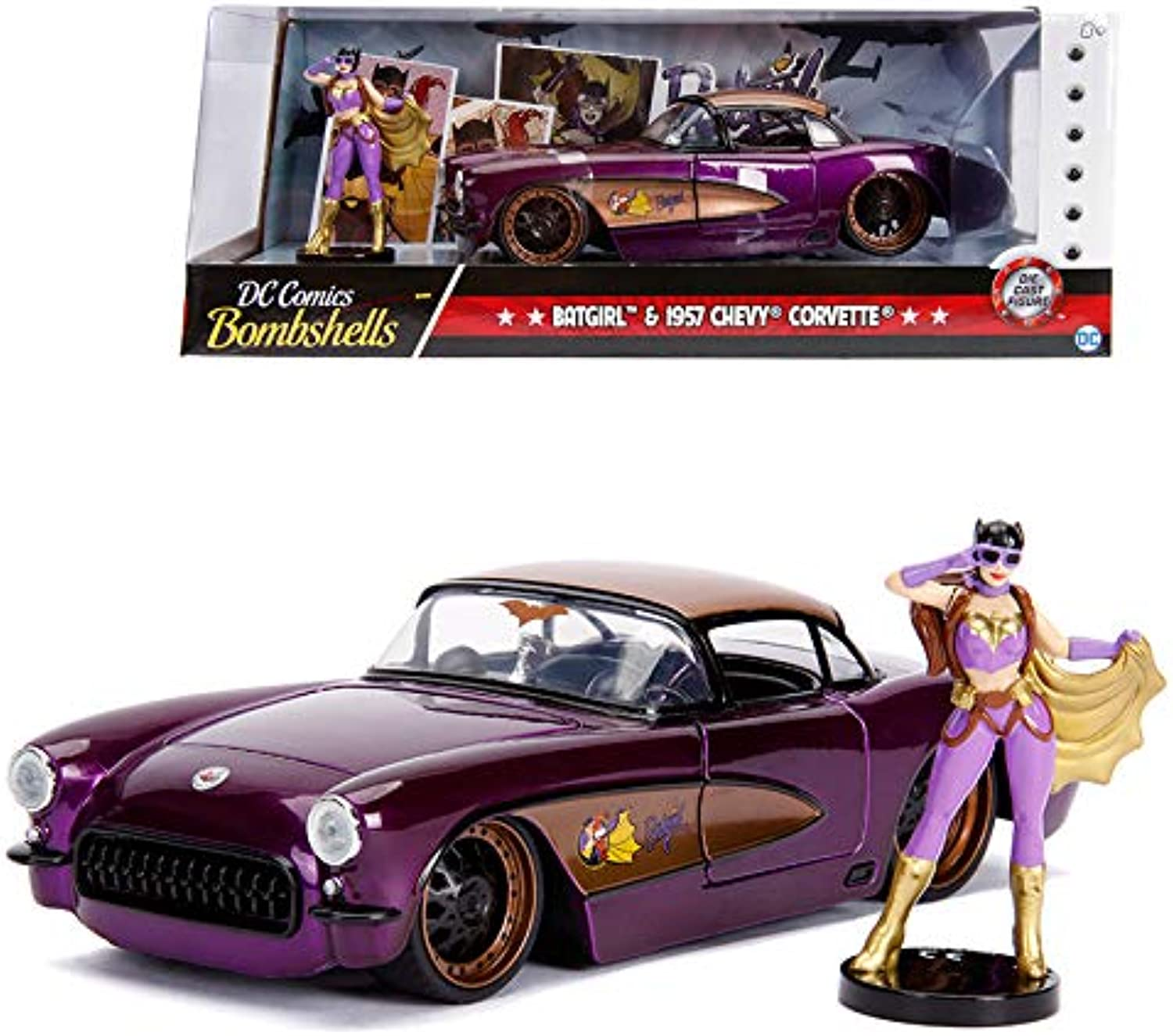 contador genuino Jada 1 24 Die-Cast Hollywood Rides Batgirl & & & 1957 Chevy Corvette Coche Model Collection  precioso