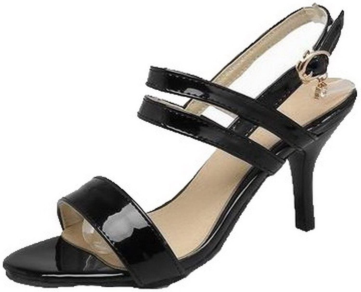AllhqFashion Women's Patent Leather Open-Toe Solid Buckle Sandals, FBULD014098