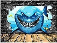 ナンバーキットでペイントシャークDIY油絵キットキャンバスに絵筆とアクリル絵の具 アートクラフト家の壁の装飾用40×50cmフレームレス