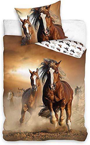 CT Bettwäsche mit Pferdemotiv, Pferde Braun Wendebettwäsche 100 % Baumwolle, 135 x 200 cm, 80 x 80 cm