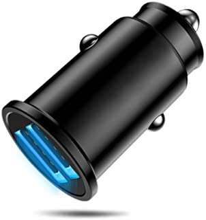 MMOBIEL Auto Ladeadapter 2.0 Dual USB Port Kompakt Daumengroß Zigarettenanzünder Adapter (5V/2.4A/24W) kompatibel mit iPhone 12/11/X, Samsung 20/10, Xiaomi, Huawei, Oppo, OnePlus, Sony etc. (Schwarz)