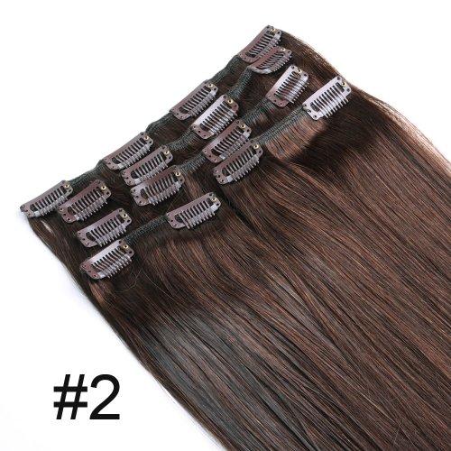 Yewig Extension de cheveux clip 7pcs Noir Raide Vrais Cheveux 100% Naturel #2 70g 38cm