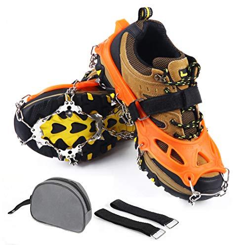 Ushining 19本爪 アイゼン 靴底用滑り止め スノースパイク スノーチェーン 転倒防止 簡単装着 収納袋付き 簡単装着 収納袋付き 雪道 登山 トレッキング M/Lサイズ