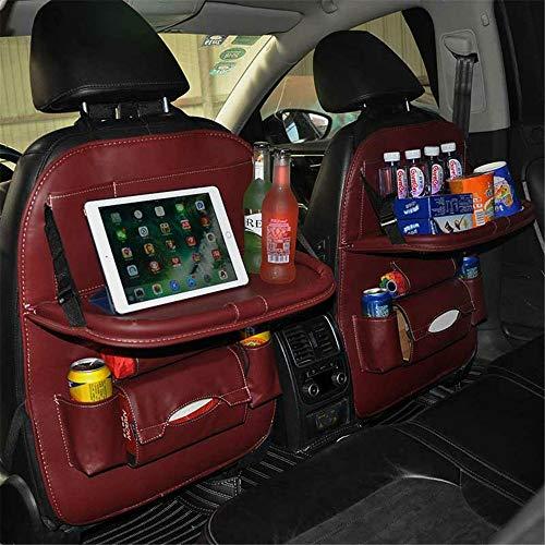 Auto-achterbank-organizer, PU-leer, auto-achterbank-organizer, met tafelhouder en IPad-houder, autostoel-organizer met opvouwbare eettafel, tissue-doos en waterflessenhouder (1 stuks) M