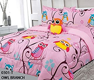 8 Piece Full Size Kids Girls Teens Comforter Set Bed in Bag with Shams, Sheet set and Decorative Toy Pillow, Owl Branch Print Pink Yellow Turquoise Girls Kids Comforter Bedding Set w/Sheets