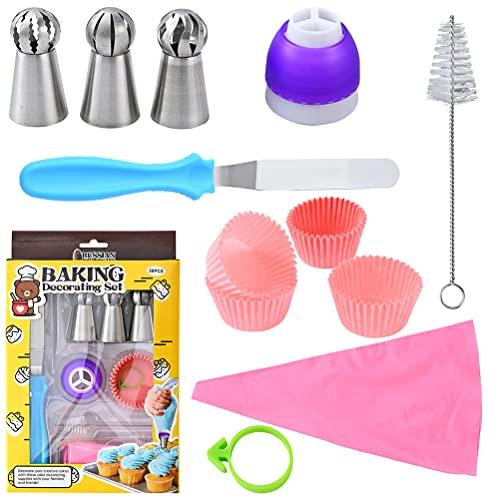 BSTCAR Kit de decoración de tartas, bolsas y boquillas para glaseado de espátula, hebilla de decoración de papel para tartas, cepillo de limpieza para principiantes y amantes de las tortas