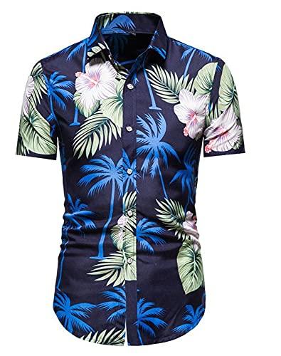 Camisa Hombre Slim Fit Transpirable Kent Collar Hombres Camisa Hawaiana Moda Vintage Botones Estampados Camisa Playa Manga Corta Negocios Urbanos Camping Hombre Camisa Casual H-DC41 L