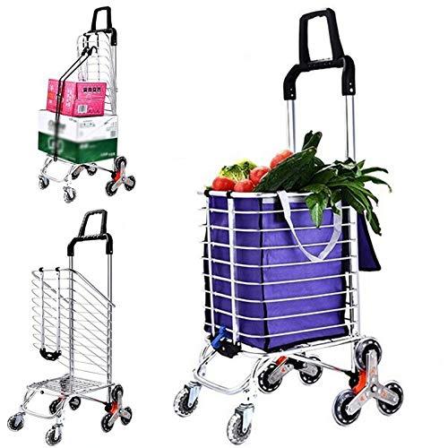 Chariots d\'épicerie avec roues pivotantes Chariot pliant portable pour économiser de l\'espace Chariot léger pour les prises de linge d\'épicerie,Blau
