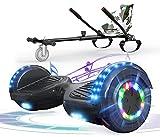 RCB Hoverboard con Asiento de Go-Kart, Hoverboard eléctrico de 6.5 'con Ruedas Intermitentes, parlantes Bluetooth, niños y Adolescentes