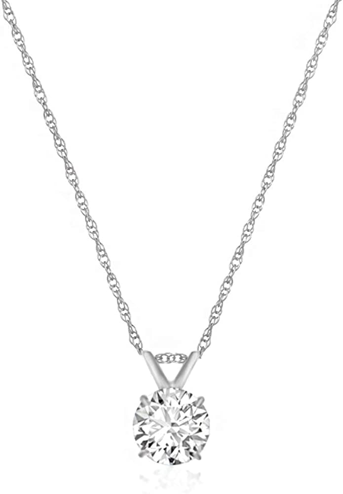 925 Sterling Silver Solid Polished Prong set Flat back CZ Cubic Zirconia Simulated Diamond Chain Slide Pendant Necklace Jewelry Gifts for Women