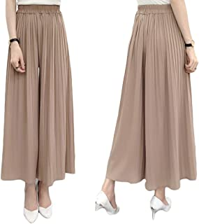 Fashring Women's Long Pant Elastic Waist Ruffle Hem Pleated Loose Summer Youga Legging Pants