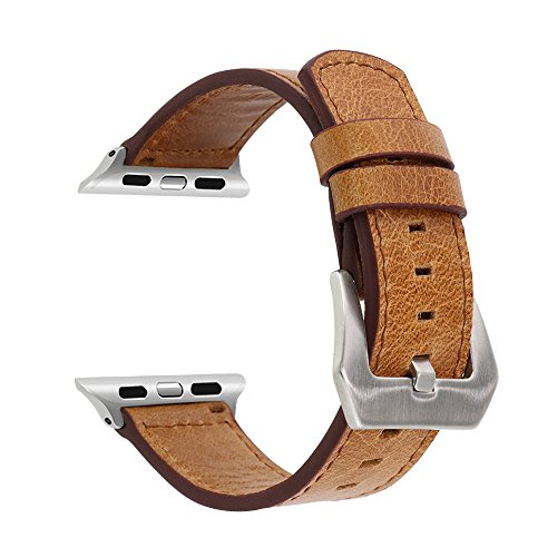 SUNKONG Compatible Apple Watch Band Men, Genuine Leather Band Replacement Wrist iWatch Band, Apple Watch Band Series 3 Series 2...