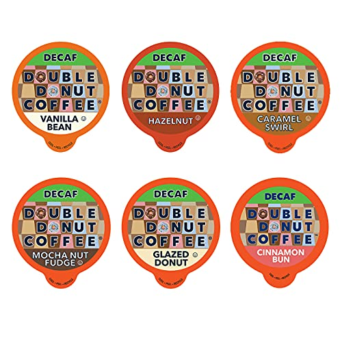 Decaf Flavored Coffee Variety Pack - 6 Traditional Flavors (Caramel Swirl, Hazelnut, Glazed Donut, Mocha Nut Fudge, Vanilla Bean, and Cinnamon Bun) for Keurig K Cups Coffee Makers - 24 Count