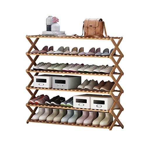 XWZH Zapatero a prueba de polvo para zapatos, de bambú, de 6 niveles, multifuncional, plegable, organizador de almacenamiento ideal para baño, sala de estar, pasillo