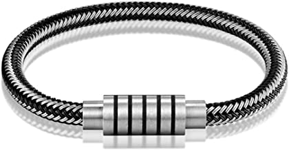 JOOKEEL Black And White Braided Steel Wire Bracelet Magnetic Buckle Wristband Men Stainless Steel Bracelet