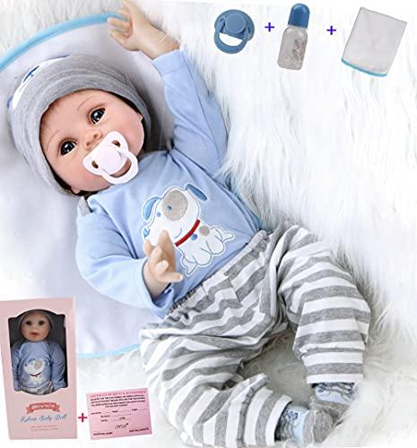 ZIYIUI Encantador 22 Pulgadas 55cm Muñecas Reborn Bebé Niño Silicona Suave Vinilo Vida Real Newbron Juguetes de Niño y Niña Magnéticos Baratos Reborn Doll