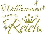 GRAZDesign Wanddeko Wandspruch Willkommen in unserem Reich - Wandaufkleber Klebefolie Spruch mit Sternen und Krone - Wandtattoo Flur Eingang WG Deko / 54x40cm / 720347_40_826