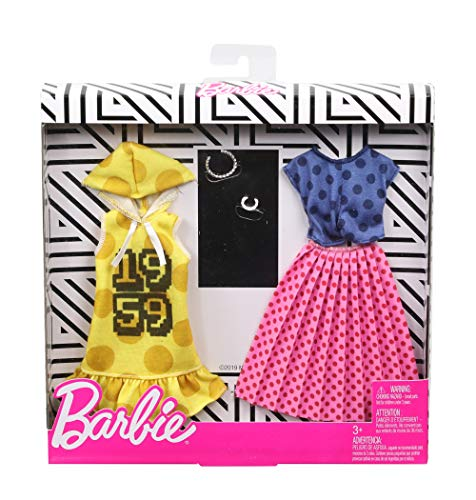 Buy Barbie Clothes 2 Outfits Doll Feature Polka Dots On A Yellow Hoodie Dress A Blue Top And Pink Skirt Plus 2 Accessories Gift For 3 To 8 Year Olds Toys R Us