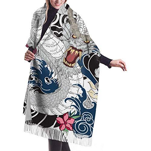 Dames Winter Grote Sjaal Kasjmier Sjaal Voel Draak Tattoo Ontwerp Kleurplaten Sjaal Stijlvolle Sjaal Wraps Zachte Warm Deken Sjaal Voor Vrouwen 27x78 inch