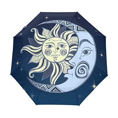 Blue Art Moon Sonnenschirm Winddicht Automatisch Faltbare Regenschirme Auto Open Close für Männer Frauen Kinder