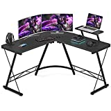 Foxemart L Shaped Gaming Desk 51'' Corner Game Desk Home Office Desks with Large Monitor Stand Computer Desk with Round Corner, Black