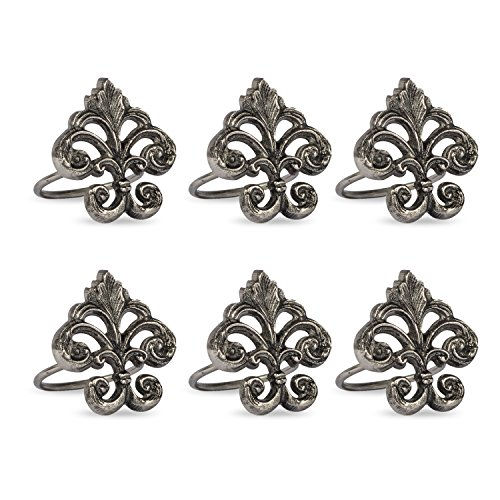 DII Classic Chic Napkin Rings for Dinner Parties, Weddings Receptions, Family Gatherings, or Everyday Use, Set Your Table With Style - Fleur De Lis, Set of 6