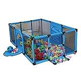 LXDDP Parc pour bébé avec Parc Boules et Matelas, Parc bébé sécurité avec But Football, Bleu Anti-Collision, 120 × 180 ×...