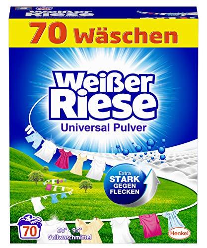 Weißer Riese Universal Pulver (70 Waschladungen), Vollwaschmittel extra stark gegen Flecken, ergiebiges Waschpulver, ideal für Familien mit Kindern