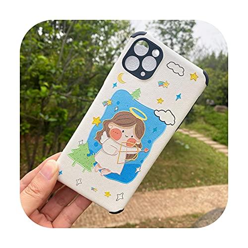 Adecuado para iPhone 6 7P 8P 11 12pro XR XS establecer nueva caricatura lindo teléfono caso-ángel blanco para iPhone SE2020