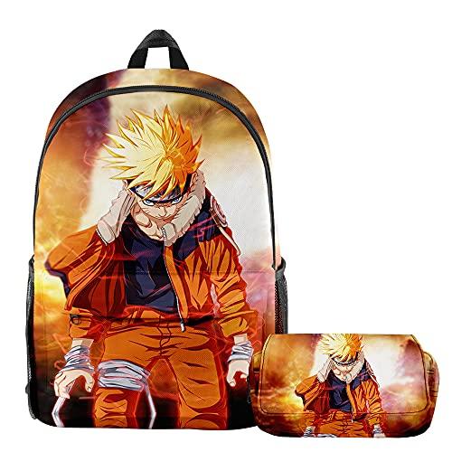 Naruto Uzumaki Naruto - Mochila infantil de 2 piezas, 2, 28x17x42cm,