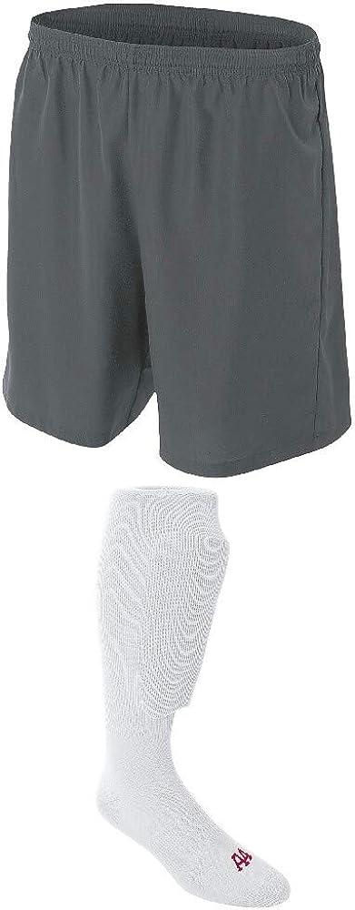 Superlatite Under blast sales A4 Sportswear Graphite Adult Medium Socks Soccer White Shorts