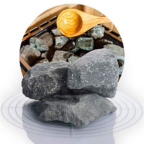 Deutsche Diabas Saunasteine 10 kg 5-8 cm oder 8-12 cm, hochwertige Aufgusssteine für den Saunaofen, vorgewaschen (8-12 cm)