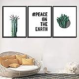 SJYHNB Lienzo Arte De La Pared Cactus verde y letras Lienzo De Pintura Moderno En La Pared Imagen Sala De Estar Y Dormitorio Arte Cuadros Decorativos 40 x 60 cm x 3 Paneles (con Marco)