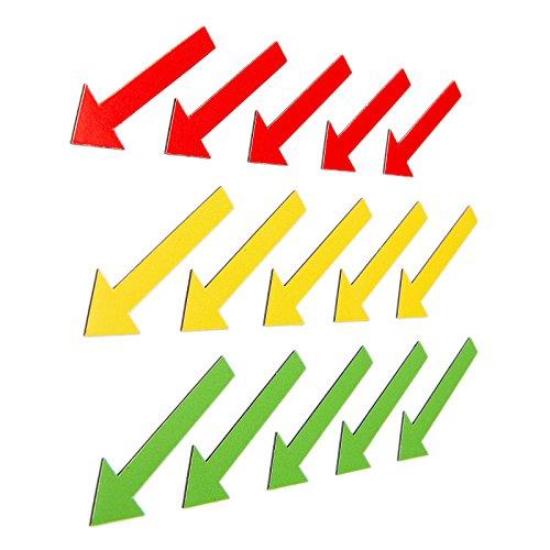 SMILEYBOARD - Bunte Magnet-Pfeile - 15 Stück - 6 cm Durchmesser - Farben: rot - gelb - grün