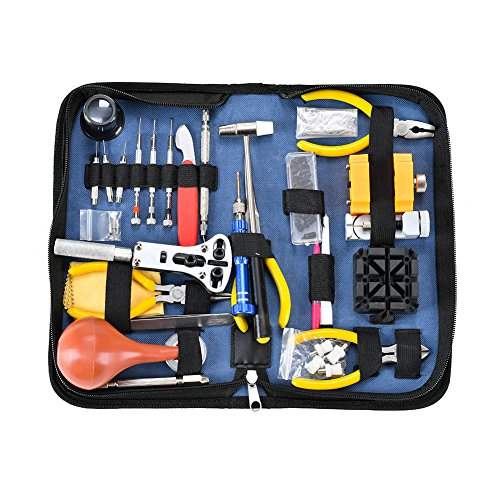 Deluxe Watch Repair Tool Kit - Watch Tools Adjustable Band Link Pin Case Opener Spring Bar Tool Set (141pcs)