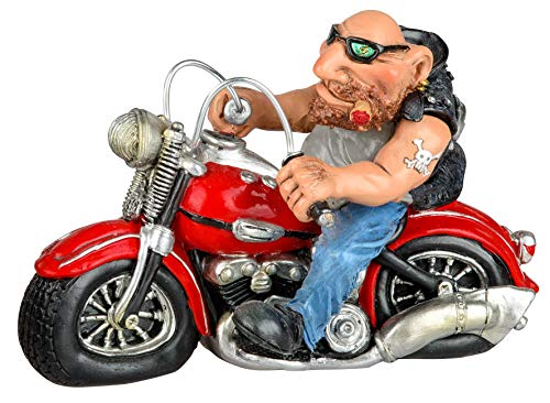 dekojohnson lustige Rocker-Deko Biker-Deko auf dem Motorrad mit Zigarre Tattoo und Sonnenbrille Biker-Figur Zierfigur trendig witzig rot 15 cm groß