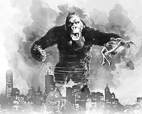 11x14 King Kong and Fay Wray NYC Skyline Watercolor Art Print
