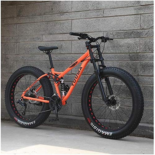 LFSTY 26 Pollici Mountain Bike, Adulti Ragazzi Ragazze Fat Bike da Montagna, Grande Pneumatico Biammortizzata Biciclette, Telaio in Acciaio ad Alto Tenore di Carbonio,Orange,24 Speed