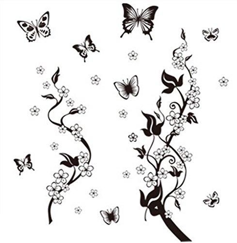 Fliyeong Abnehmbare Wandaufkleber Elegante Schwarze Schmetterling Wandkunst Aufkleber Wandbild Home Kitchen Artwork Wandaufkleber Langlebig und Nützlich