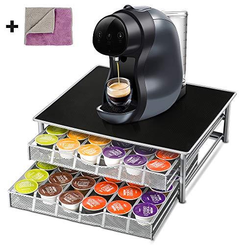 Porta Capsule Dolce Gusto di Due Strati-Capacità di 72 PCS Contenitore per Capsule Caffe con 1 Panni di Pulizia,Dispenser Cassetto per Caspule Dolce Gusto Supporto per Machina del Caffè Masthome