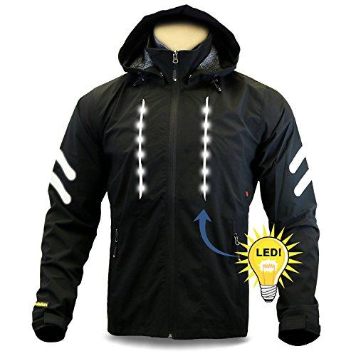 KwikSafety Racer Road Bike Jacket | Hi Vis Street Bike LED Jacket | Black L