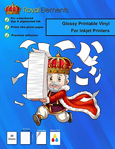 Royal Elements - Vinilo imprimible para impresoras de inyección de tinta, 20 hojas impermeables...