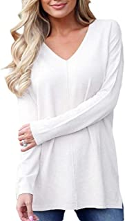Women's Loose Deep V-Neck Long Sleeve Tops Sweater Pullover Knit Shirt