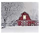 Oak Street Christmas Winter Scenes 17'x14' LED Art Canvas Light up Pictures (17'x14', Winter Red Barn OSW186378)